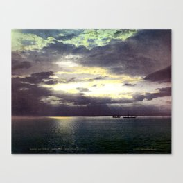 Vintage Sunset Waters : St Lawrence River 1901 Canvas Print