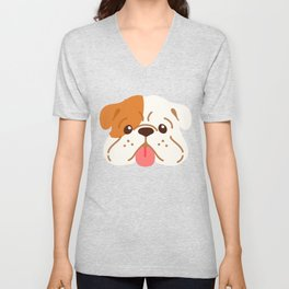 Smiling English Bulldog Unisex V-Neck