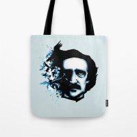 edgar allan poe Tote Bags featuring Edgar Allan Poe Crows by Ludwig Van Bacon