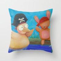pirates Throw Pillows featuring Pirates ! by Pinkpandas