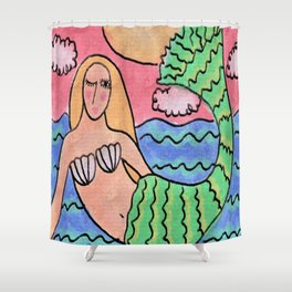 Sunset Mermaid Abstract Digital Painting Shower Curtain