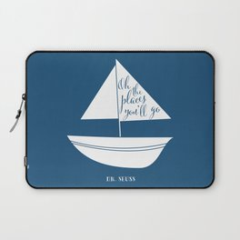 Dr Seuss Oh the Places you'll go navy sail boat Laptop Sleeve