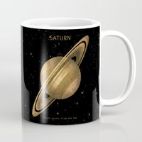 saturn Mugs featuring Saturn by Terry Fan
