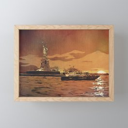 Statue of Liberty on Liberty Island at sunset- New York City, New York.  Watercolor painting Framed Mini Art Print