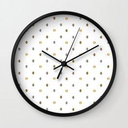 Silver and Gold Polka Dot Design Wall Clock