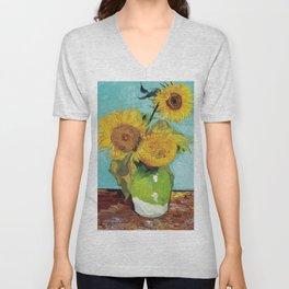 "Vincent van Gogh,"" Three Sunflowers "" Unisex V-Neck"
