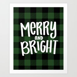 Merry and Bright Christmas Buffalo Plaid Art Print