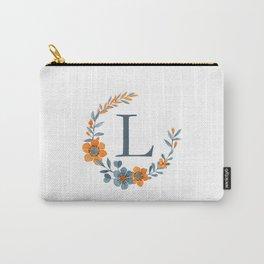 Monogram L Orange Autumn Floral Wreath Carry-All Pouch