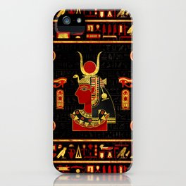 Hathor Egyptian Ornament Gold and Red glass iPhone Case