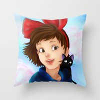 kiki Throw Pillows featuring Kiki & Jiji by Hetty's Art