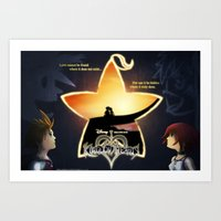 kingdom hearts Art Prints featuring Kingdom Hearts - Fated Together by Fancy Pants Artistry