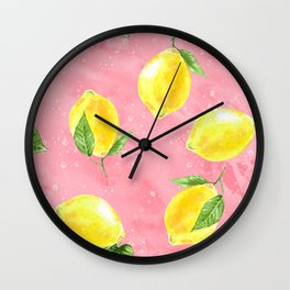 Lemon Pattern 03 Wall Clock