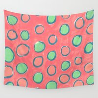 polka dot Wall Tapestries featuring polka dot by Jenni Freidman