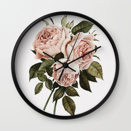 Three English Roses Wall Clock