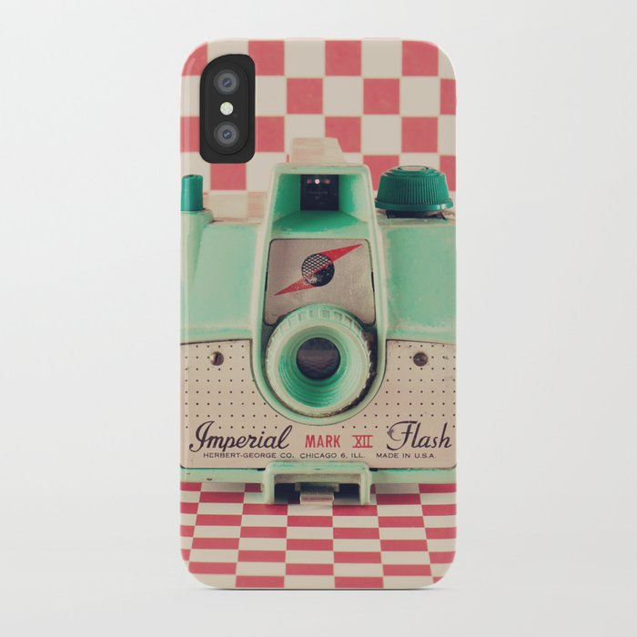 Mint Retro Camera on Red Chequered Background  iPhone Case