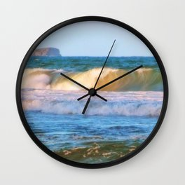 Rolling wave and headland Wall Clock