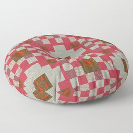 project for a quilt red and beige with floral patterns Floor Pillow