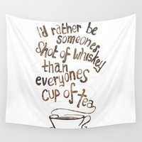 whiskey Wall Tapestries featuring Whiskey and Tea by marpai