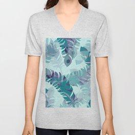 Feather turquoise pattern design Unisex V-Neck