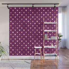 Purple & Rose Gold Crown Pattern Wall Mural