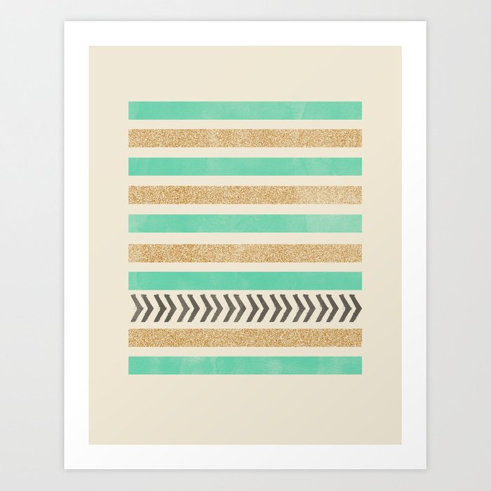 MINT AND GOLD STRIPES AND ARROWS Art Print