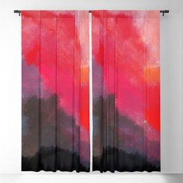 Red, Black and Yellow Mosaic Blackout Curtain