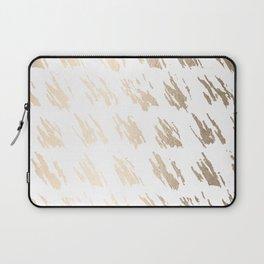 Luxe Gold Brush Polka Splotch on White Laptop Sleeve