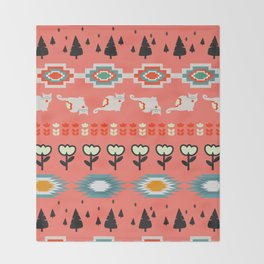 Winter pattern  with cats and flowers Throw Blanket