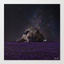 Flower Field Pug Canvas Print