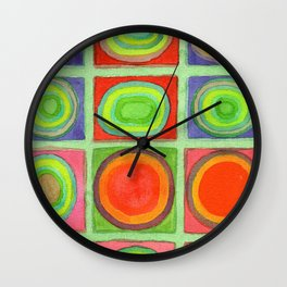 Green Grid filled with Circles and intense Colors Wall Clock