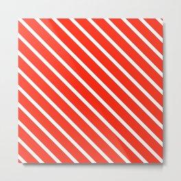 Red Grapefruit Diagonal Stripes Metal Print