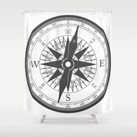 compass Shower Curtains featuring Compass by Ffrind