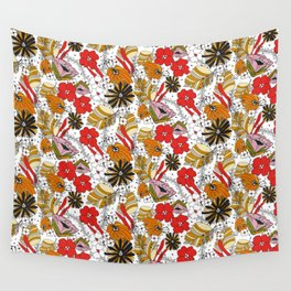Retro Fall Floral Wall Tapestry