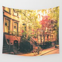 bicycles Wall Tapestries featuring New York City by Vivienne Gucwa
