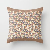 willy wonka Throw Pillows featuring Willy Wonka Pattern by Ricky Kwong