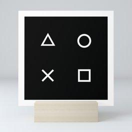 Gamer Pattern (White on Black) Mini Art Print