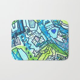Spring time geometric abstract drawing Bath Mat