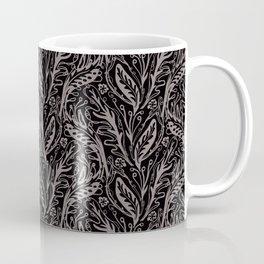 Modern Floral Leaf Nature Pattern, Monochrome Tonal Grey on Black with Linear detail Coffee Mug