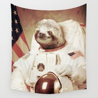 bitch Wall Tapestries featuring Sloth Astronaut by Bakus