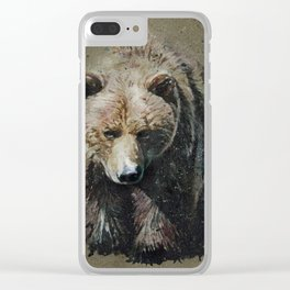 Bear background Clear iPhone Case