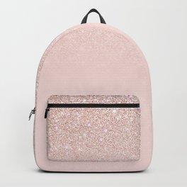 Elegant Girly Rose Gold Pink Glitter Ombre Backpack