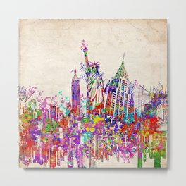 New York skyline colorful collage Metal Print