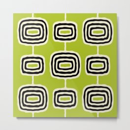 Mid Century Modern Atomic Rings Pattern 253 Chartreuse and Black Metal Print