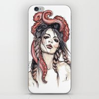 octopus iPhone & iPod Skins featuring Octopus by Nora Bisi