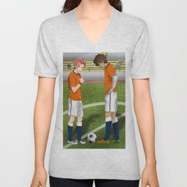 Connor and Mitchell soccer match Unisex V-Neck