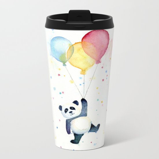 Birthday Panda Balloons Cute Animal Watercolor Metal Travel Mug