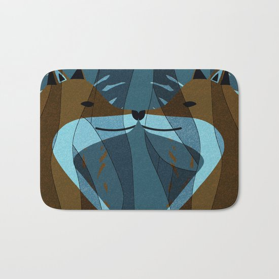 Gorgeous Foxes Kiss Design Bath Mat