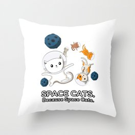 Space Cats - Spaceship Galaxy Satellite Kitten Throw Pillow