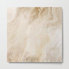 Brown Turquiose Marble texture Metal Print