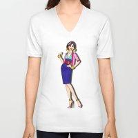 mulan V-neck T-shirts featuring Diva, Mulan by Anthony Michael